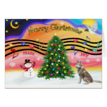 Música 2 del navidad - husky siberiano (rojo) tarjeta
