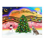 Música 2 del navidad - husky siberiano (rojo) postales