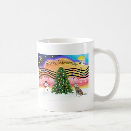 Música 2 del navidad - husky siberiano (rojo) taza básica blanca
