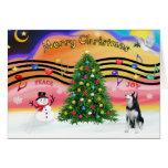 Música 2 del navidad - husky siberiano felicitación