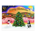 Música 2 del navidad - husky siberiano tarjetas postales