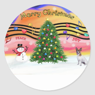 Música 2 del navidad - Jack Russell Terrier Pegatina Redonda