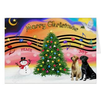 Música 2 del navidad - labradores retrieveres (dos tarjeta de felicitación