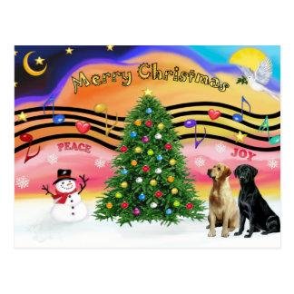 Música 2 del navidad - labradores retrieveres tarjetas postales