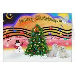Música 2 del navidad - maltesa (dos) tarjeta