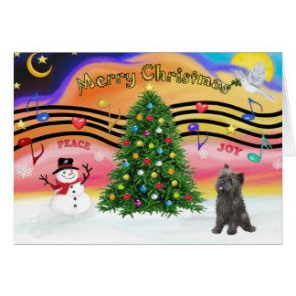 Música 2 del navidad - mojón (21 brindle) tarjeta de felicitación