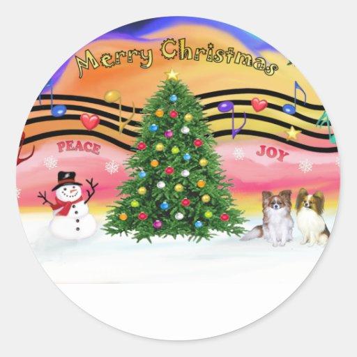 Música 2 del navidad - Papillons (2-Sable-fawn) Etiquetas Redondas