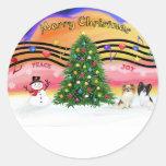 Música 2 del navidad - Papillons (dos) Etiqueta Redonda