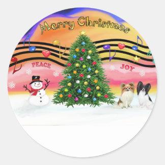 Música 2 del navidad - Papillons (dos) Pegatina Redonda