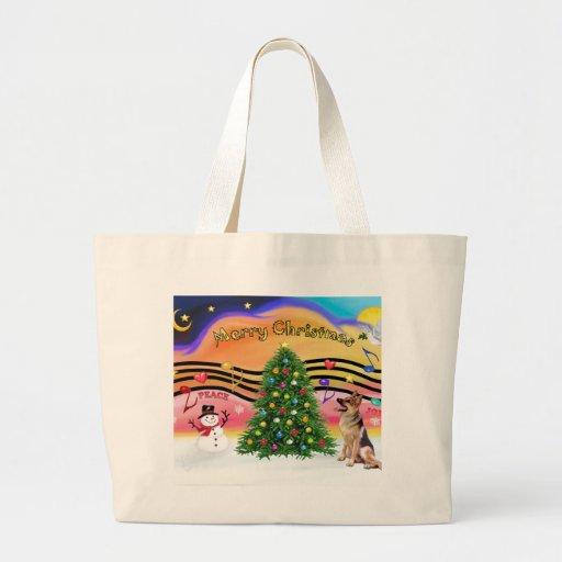 Música 2 del navidad - pastor alemán 1 bolsa tela grande