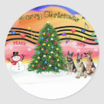 Música 2 del navidad - pastores alemanes (tres) etiqueta redonda