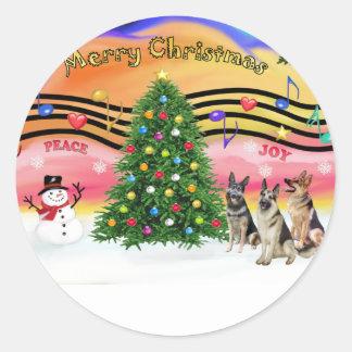 Música 2 del navidad - pastores alemanes (tres) pegatina redonda