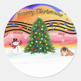 Música 2 del navidad - Pekingese (rojo) Pegatina Redonda