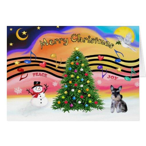 Música 2 del navidad - perrito del Schnauzer Tarjeta De Felicitación