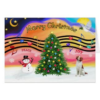 Música 2 del navidad - perro de aguas de Bretaña Tarjeta De Felicitación