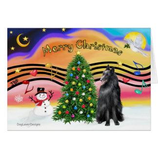 Música 2 del navidad - perro pastor belga tarjeta