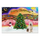 Música 2 del navidad - perro pastor inglés viejo 3 tarjeta