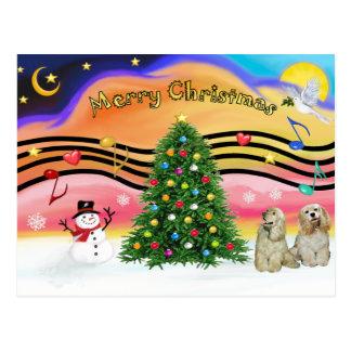 Música 2 del navidad - perros de aguas de cocker ( tarjeta postal