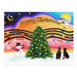Música 2 del navidad - Pinschers miniatura (dos) Tarjetas Postales