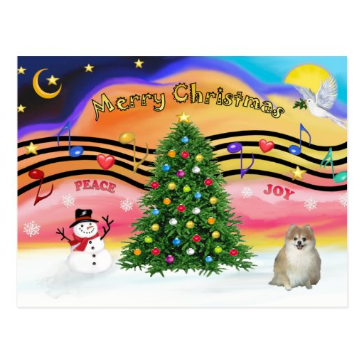 Música 2 del navidad - Pomeranian Tarjeta Postal