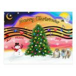 Música 2 del navidad - Pomeranians (tres) Tarjeta Postal