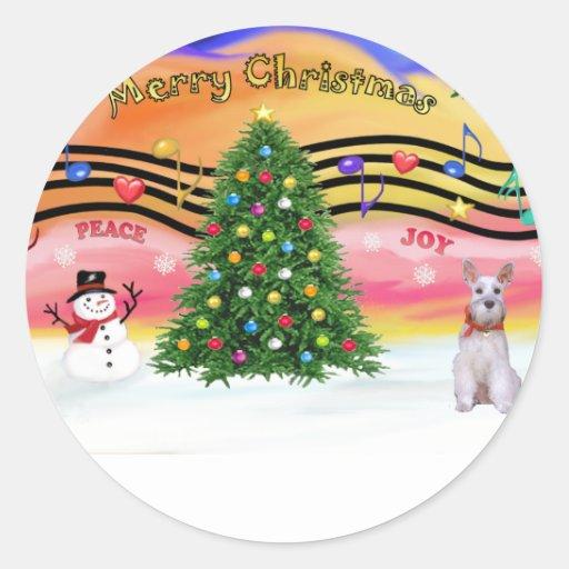 Música 2 del navidad - Schnauzer 9 Pegatina Redonda