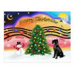 Música 2 del navidad - Schnauzer (negro gigante) Tarjeta Postal