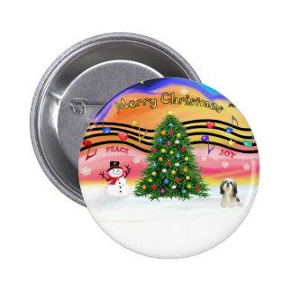 Música 2 del navidad - Shih Tzu #3 Pin Redondo 5 Cm