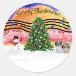 Música 2 del navidad - Shih Tzu (par 2) Pegatinas Redondas