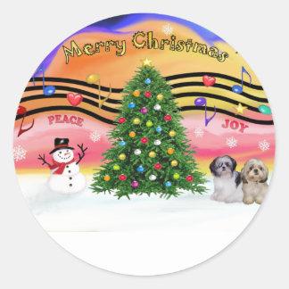 Música 2 del navidad - Shih Tzu (par 2) Pegatina Redonda