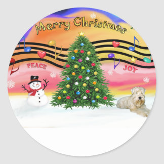 Música 2 del navidad - Terrier de trigo (ld) Pegatina Redonda