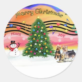 Música 2 del navidad - terrieres sedosos (tres) pegatina redonda