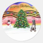 Música 2 del navidad - Wolfhound irlandés 1 Etiqueta Redonda