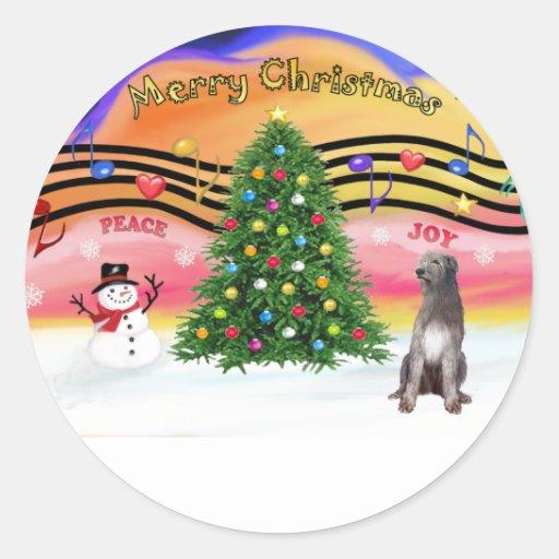 Música 2 del navidad - Wolfhound irlandés 1 Pegatina Redonda