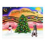 Música 2 del navidad - Wolfhound irlandés 1 Tarjeta Postal