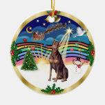 Música 3 de Navidad - Doberman rojo Ornaments Para Arbol De Navidad