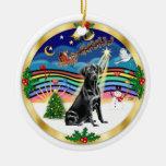 Música 3 de Navidad - Labradorb negro Adorno De Navidad
