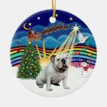 Música #3 - dogo inglés blanco de Navidad Ornato