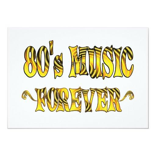"""música 80s para siempre invitación 5"""" x 7"""""""