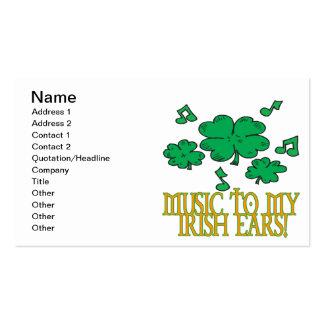Música a mis oídos irlandeses tarjetas de negocios