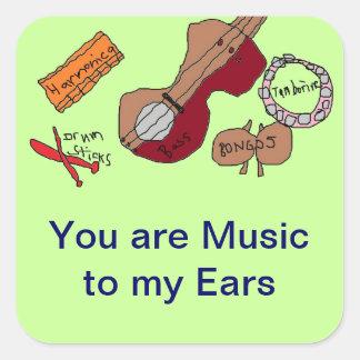 Música a mis pegatinas de los oídos pegatina cuadrada