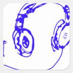 Música a sus oídos colcomanias cuadradas personalizadas