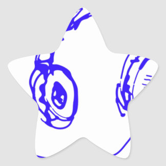 Música a sus oídos pegatina en forma de estrella