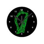 música adornada negra verde design.png de la arpa relojes de pared