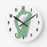 música adornada negra verde design.png de la arpa reloj de pared