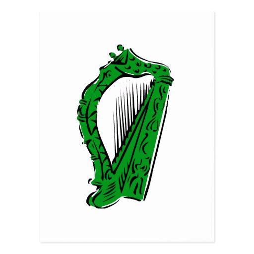 música adornada negra verde design.png de la arpa postal