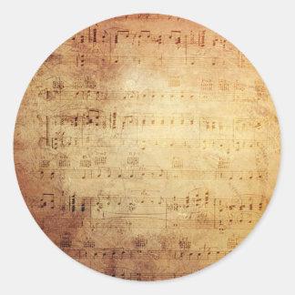 Música antigua pegatina redonda