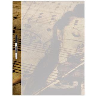 Música artsy del violín pizarra blanca