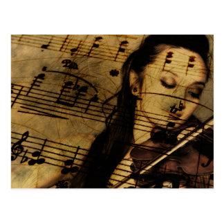 Música artsy del violín postal