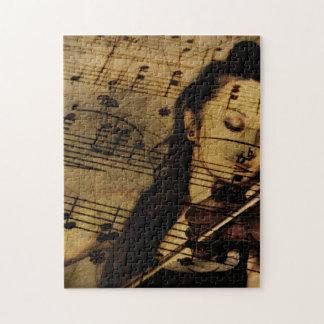 Música artsy del violín rompecabezas con fotos